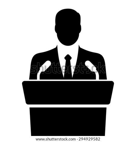 speaker icon. orator speaking from tribune. vector flat design colorful illustration - stock vector