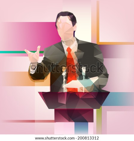 speaker icon. orator speaking from tribune vector illustration. Triangulation. Illustration of triangles. Speaks with gestures. Appeal to the politics public. Microphones on the podium. christmas. - stock vector