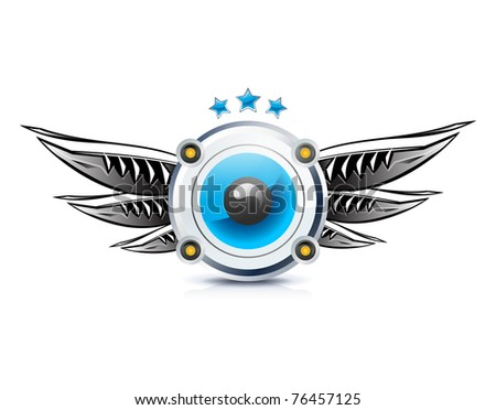 Speaker icon with wings on white - stock vector