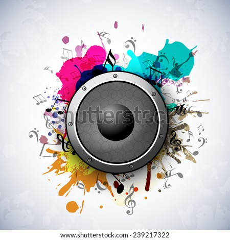 Speaker on grungy art and musical notes on stylish background. - stock vector