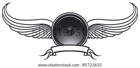 speaker shield with wings and banner - stock vector