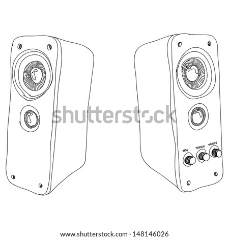 speaker sketch, eps10, vector - stock vector