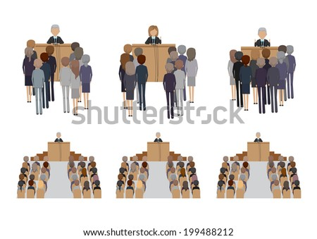 Speaker Speaking From Tribune - Isolated On White Background - Vector Illustration, Graphic Design Editable For Your Design - stock vector