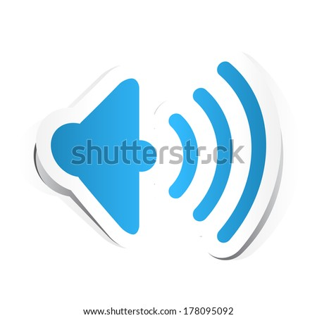 Speaker Volume Icon with Paper Design. - stock vector