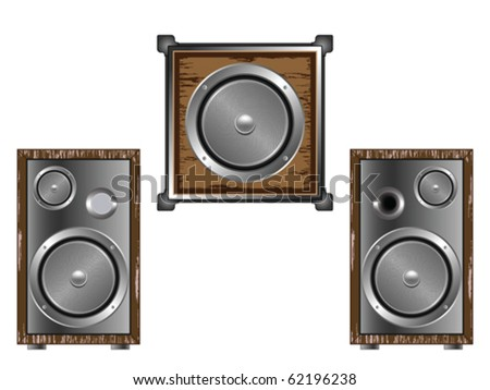 speakers against white background, abstract vector art illustration