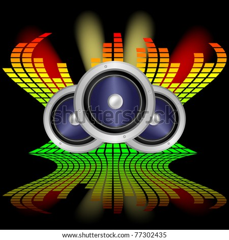 Speakers and graphic equalizers on the black background with reflection - stock vector