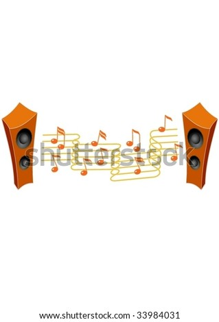 Speakers and notes.Isolated Abstract Background Vector Illustration.