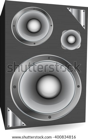 Speakers on a white background with metal elements