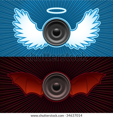 Speakers with wings - good and bad - stock vector