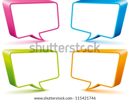 Speaking labels in bright colors - stock vector