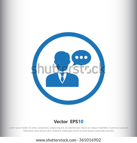 Speaking man icon. Man with bubble speech symbol - stock vector