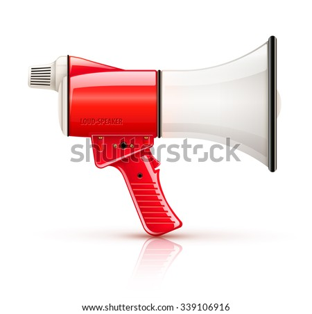 Speaking-trumpet speaking-trumpet loud-speaker for voice amplification. vector illustration. Isolated on white background. Transparent objects used for lights and shadows drawing. - stock vector
