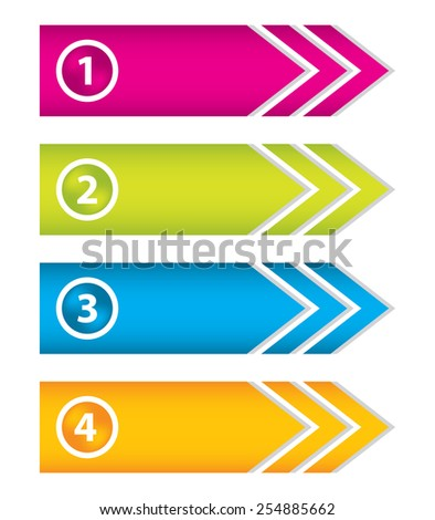 special arrow stickers set with numbered buttons - stock vector