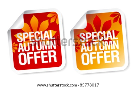 Special autumn offer stickers set. - stock vector