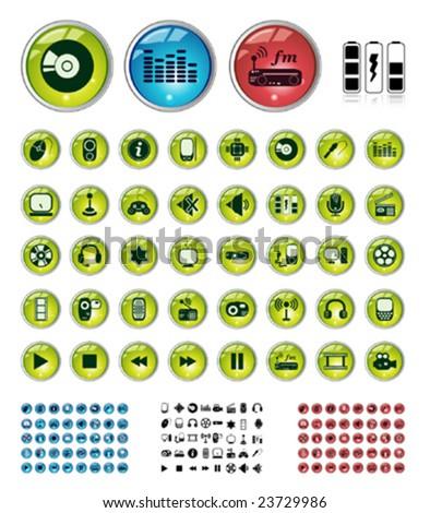 Special AV collection in 3 colors + AV symbols - stock vector