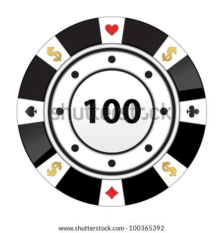special black poker chip - stock vector