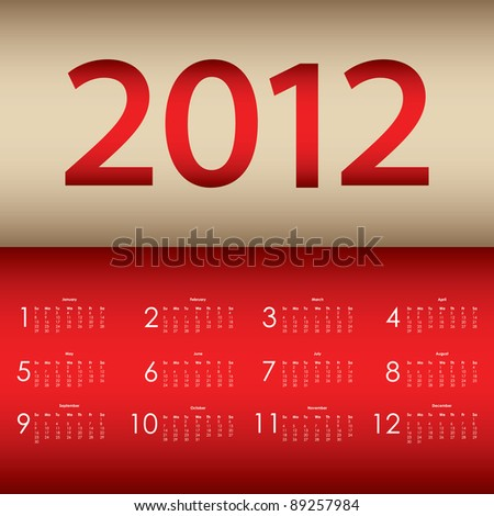 special calendar 2012 - stock vector