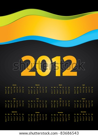special calendar design for 2012 - stock vector