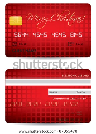 special Christmas credit card design - stock vector
