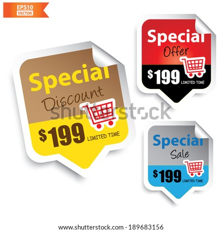 Special Discount, Special Offer, Special Sale Signs or Symbols.-eps10 vector - stock vector
