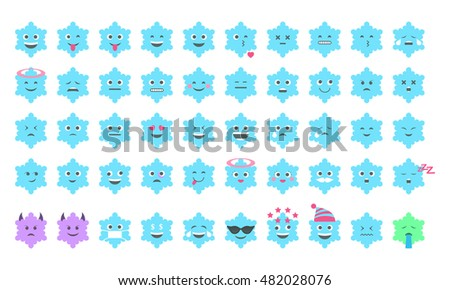 Special emoji set in the form of snowflakes  for Christmas and New Year Chat. Vector illustration,