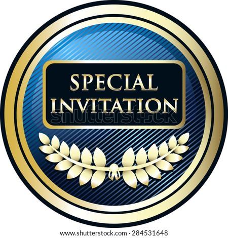 Special invitation blue label stock photo photo vector special invitation blue label stopboris Choice Image