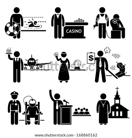Special Jobs Occupations Careers - Swimming Lifeguard, Casino Dealer, Tattoo Artist, Air Steward, Fortune Teller, Debt Collector, Politician, Prison Warden, Priest - Stick Figure Pictogram - stock vector