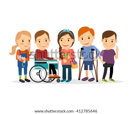 Special needs children with friends, friends and handicapped children. Vector illustration - stock vector