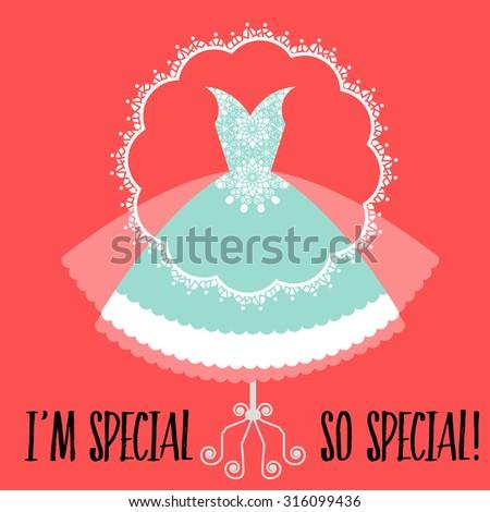 Special nouveau retro lacy dress - special occasion  - stock vector