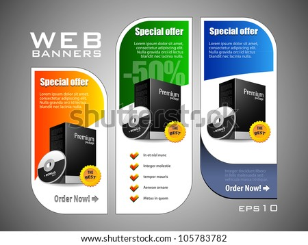 Special Offer Banner Set Vector Colored: Blue, Green, Yellow. Showing Products Purchase Button - stock vector