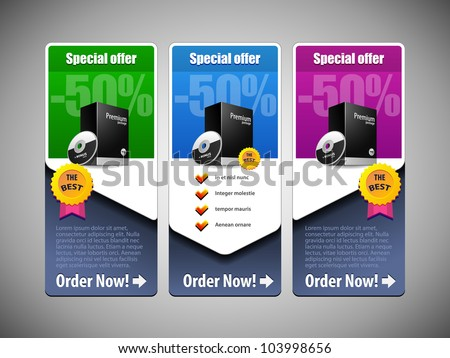 Special Offer Banner Set Vector Colored 21: Blue, Purple, Violet, Green. Showing Products Purchase Button - stock vector