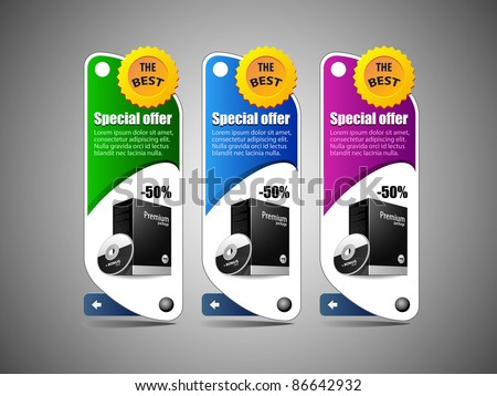Special Offer Banner Set Vector Colored 6: Blue, Purple, Violet, Green. Showing Products Purchase Button - stock vector