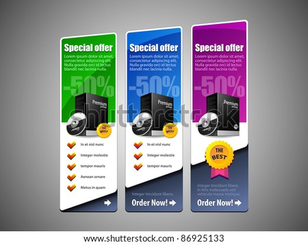 Special Offer Banner Set Vector Colored 8: Blue, Purple, Violet, Green. Showing Products Purchase Button - stock vector