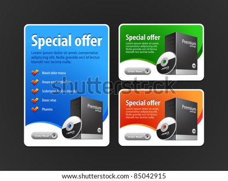 Special Offer Banner Set Vector Colored 2: Blue, Red, Green. Showing Products Purchase Button - stock vector