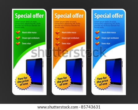 Special Offer Banner Set Vector Colored 4: Blue, Red, Green. Showing Products Purchase Button Pad