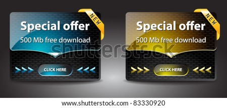 Special offer banners for free download-vector (blue and yellow version) - stock vector