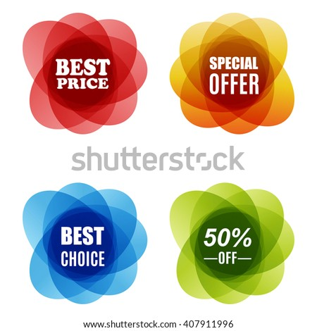Special Offer, best choice and Best Price Marks. Set of round colorful vector shapes. Abstract vector banners. Design elements. vector illustration