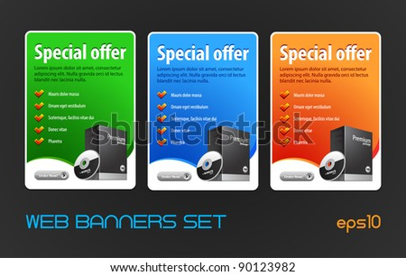 Special Offer Big Banners Set Vector Colored: Blue, Red, Green. Showing Products Purchase Button, Order Now - stock vector