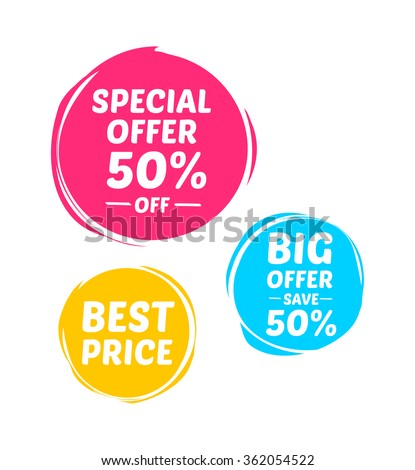 Special Offer, Big Offer & Best Price Marks - stock vector