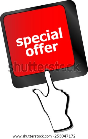 special offer button on computer keyboard keys - stock vector