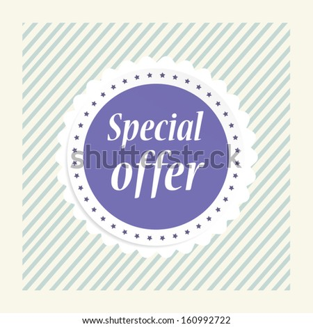 Special offer concept is vintage purple lable and sticker vector illustration.  - stock vector