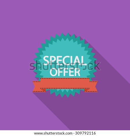 Special Offer icon. Flat vector related icon with long shadow for web and mobile applications. It can be used as - logo, pictogram, icon, infographic element. Vector Illustration. - stock vector