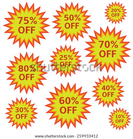 Special offer label. Shopping discount icons. Price signs.