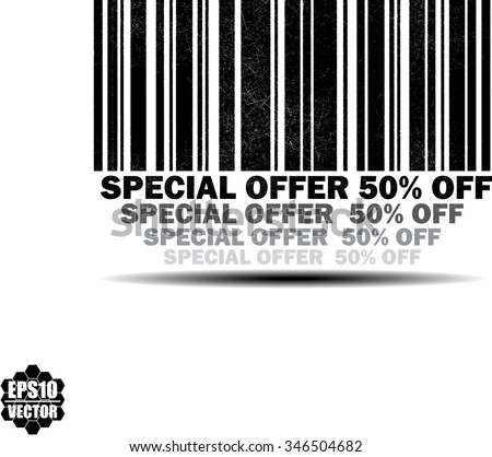 Special offer 50 percent off - black barcode grunge rubber stamp design isolated on white background. Vintage texture. Vector illustration - stock vector