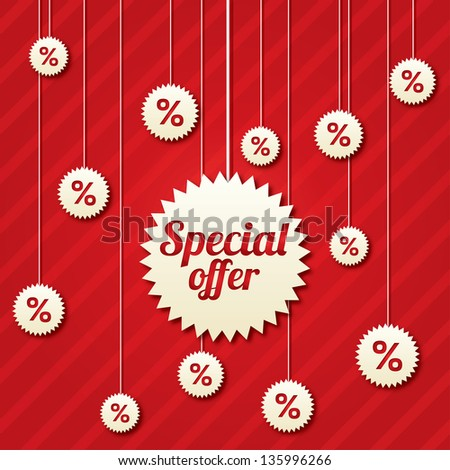 Special offer poster with percent discount (vector). Abstract sale background. Shopping modern icons. - stock vector