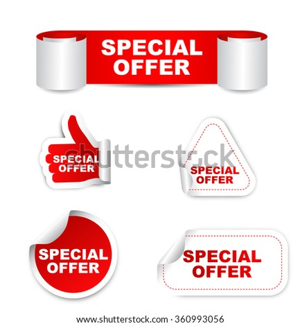 special offer, red vector special offer, red sticker special offer, set sticker special offer, element special offer, sign special offer, design special offer, picture special offer, special offer eps - stock vector