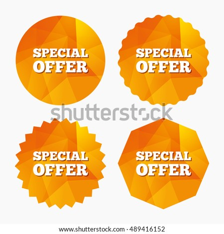 Special offer sign icon. Sale symbol. Triangular low poly buttons with flat icon. Vector