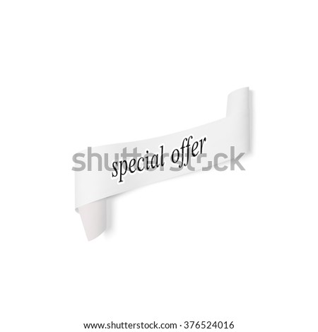 Special offer sign, paper banner, vector ribbon with shadow isolated on white.