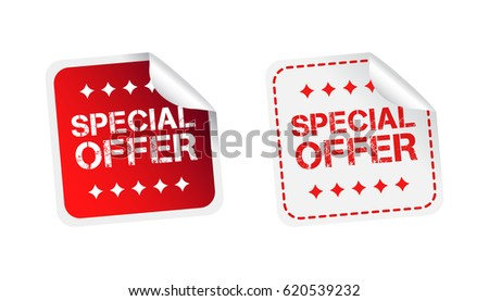 Special offer sticker. Business sale red tag label vector illustration on white background.