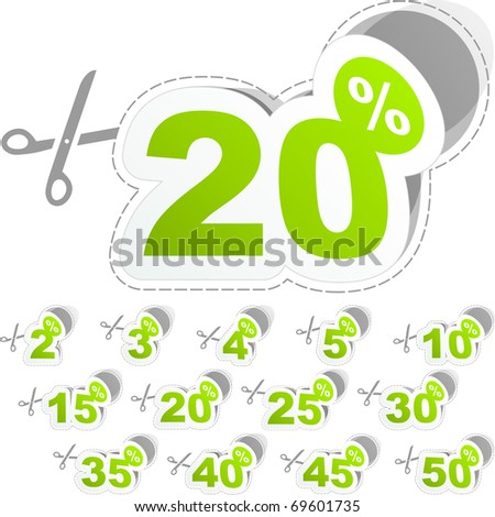 Special offer sticker - sale coupon. Shopping badge with percentage discount. - stock vector